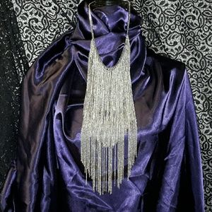 Jewelry - SILVERTONE FRINGE BIB NECKLACE